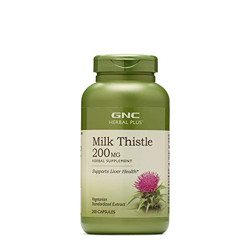 GNC Herbal Plus Milk Thistle 200mg, 200 Capsules, Supports Liver Health