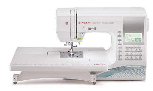 SINGER | 9960 Sewing & Quilting Machine with 600 Stitch Applications Electronic Auto Pilot Mode, Extension Table and Bonus Accessories, Perfect for Customizing Projects, 28.22 Pounds, White