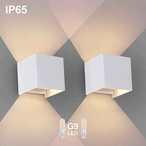 OOWOLF 2 Pezzi LED Lampada da Parete IP65 Impermeabile, Applique Moderna Lampadina G9 LED Sostituibile Bianco Caldo 3000K per Esterno ed Interno, Portico, Bagno, Corridoio, Balcone (Bianco)