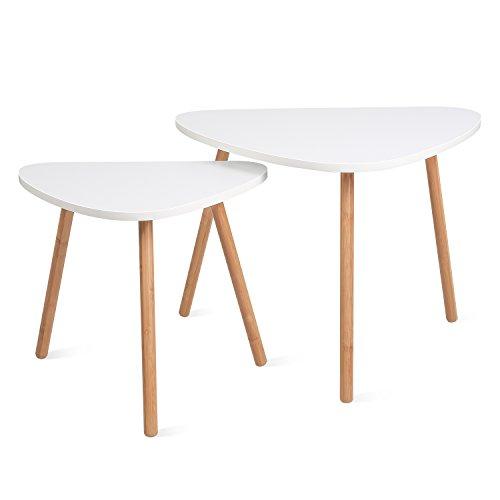 HOMFA Tavolino Divano di Caff in MDF Bianco, Set di 2 Tavolini Bassi da Salotto in Legno di Disegno...