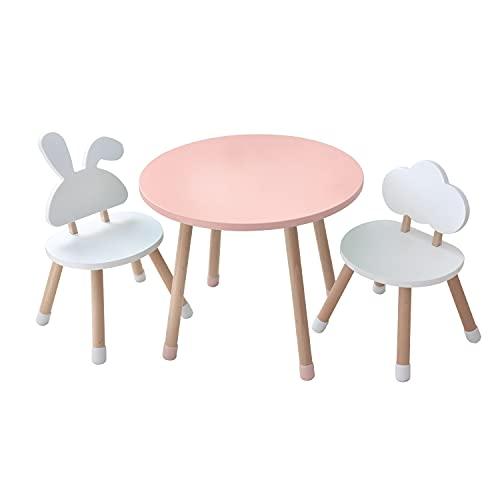 KYWAI - Set di tavolo e 2 sedie per bambini, in legno, colore rosa e bianco, tavolo rotondo, stile nordico, scrivania per bambini, camera da letto