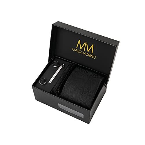 Massi Morino ® Cravatta uomo + Gemelli + Fazzoletto (Set cravatta uomo) regalo uomo con confezione regalo (Paisley nero)