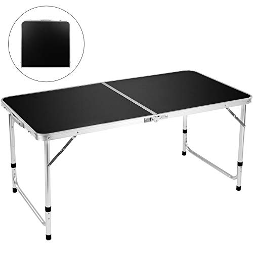 FiveJoy Folding Camping Table, 4 FT Aluminum Height Adjustable Lightweight Desk Portable Handle, Roll Up Top Weatherproof and Rust Resistant Table for Outdoor Picnic Beach Backyard, 47