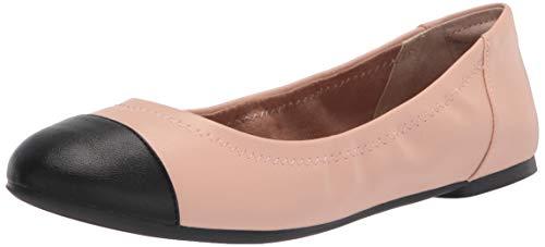 Amazon Essentials Gorra de Mujer Ballet Bailarinas Planas, Beige PU/Negro PU, 38.5 EU