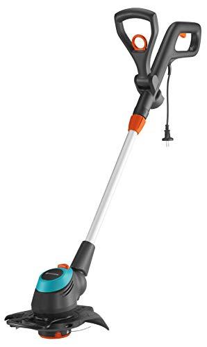 GARDENA Trimmer elettrico EasyCut 450/25: trimmer con impugnatura regolabile, testa angolata e archetto di protezione per piante rimovibile, diametro di taglio 250 mm (9870-20)