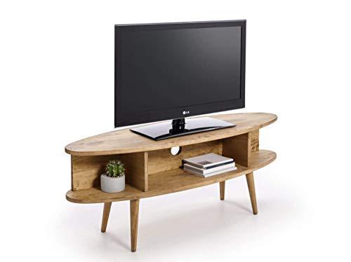 Hogar24.es - Mobile TV in stile vintage, ovale, con ripiani e finitura in legno naturale cerato...