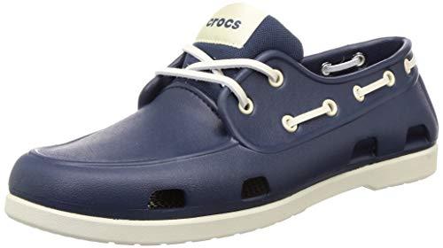 CROCS Classic Boat Shoe M, Sandalias Tiempo Libre y Sportwear Hombre, Multicolor (Navy/Stucco), 45 EU