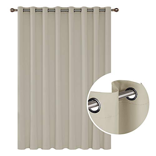 Deconovo Wide Width with Grommet Curtain Thermal Insulated Blackout Curtain for Bedroom 100W X 84L Inch Light Beige 1 Panel