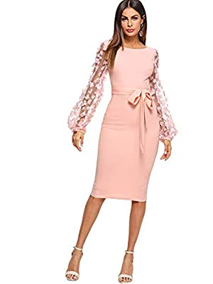 Soft, lightweight, skin touch material, the dress will give you a comfortable and breezy wearing experience. Features: This long dress shirt features high-quality material, mesh bishop sleeve, tie front, crew neck, solid color. The dress goes great w...