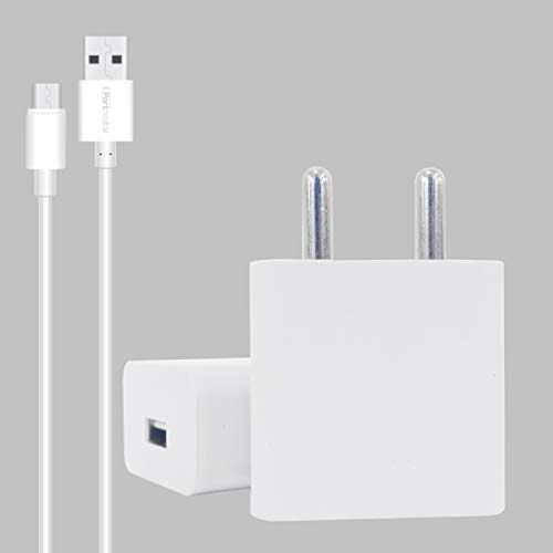 Portronics Adapto 442 Quick Charger USB Wall Adapter with One 2.0 A Quick Charging USB Port + MicroUSB Charging Cable for All iOS & Android Devices (White)