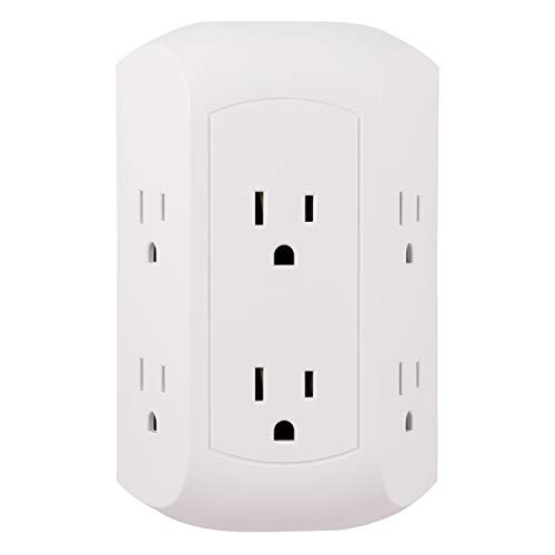 GE Pro 6 Outlet Surge Protector Adapter Spaced Tap, 3-Prong Power Strip, Charging Station, Side Access, White, 43648