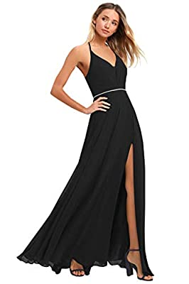 Product Feature:A-line V-Neck Halter Sleeveless Beaded Belt Slit Pleated Chiffon Floor Length Criss-Cross Fully lined with built-in bra Size XS-XXXL About Size :Please follow the size chart to select correct size.Detailed size info please check our s...