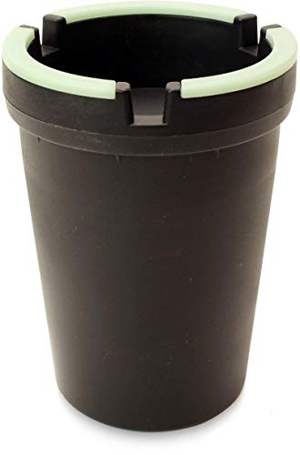 VIP Home Essentials Stub Out Glow in The Dark and Non-Glow Cup - Butt Bucket Ashtray (Black, Regular)