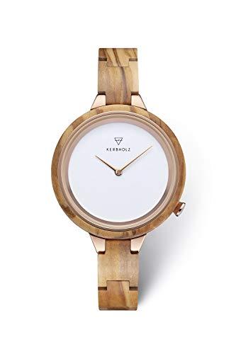 KERBHOLZ Holzuhr – Classics Collection Hinze analoge Quarz Uhr für Damen, Gehäuse und verstellbares Armband aus massivem Naturholz, Ø 38mm, Olivenholz Kupfer Weiß