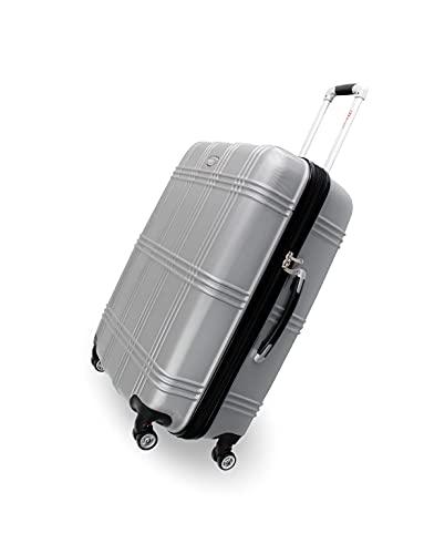 Kofferset 3 teilig Reisekoffer mit 4 Zwillingsrollen Dehnungsfuge Doppelreißverschluss Hartschalenkoffer Rollkoffer Trolley Reisen Urlaub Geschäftsreisen Koffer (Silber)