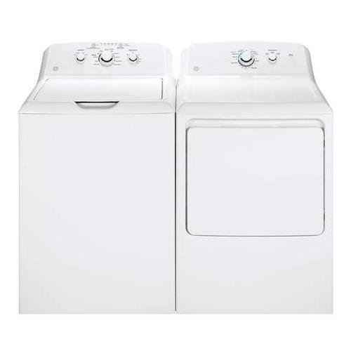 "GE White Laundry Pair with GTW330ASKWW 27"""" Top Load Washer and GTX33EASKWW 27"""" Front Load Electric Dryer"