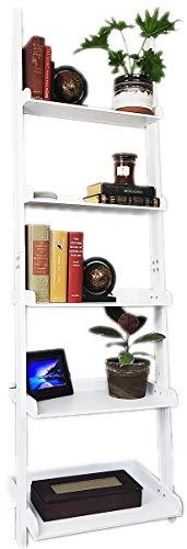 "9. eHemco 5 Tier Leaning Ladder Book Shelf in White Finish 21-5/8""W X70""H"