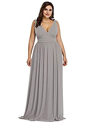 Please refer to Size Guidence Carefully Before Purchasing. Fully Lined, Not Padded in the bust, Zipper Up at the Back, Not Stretchy. Features: Simple, Elegant, Plunging Deep V-Neck, Ruched Empire Waist, Flowy Chiffon Skirt, Maxi Dresses. Suit for Eve...