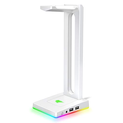 Havit RGB Headphones Stand with 3.5mm AUX and 2 USB Ports, Headphone Holder for Gamers Gaming PC Accessories Desk (White)