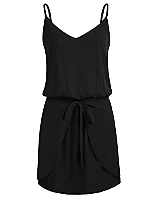 Feature: Spaghetti strap; Sleeveless; Lining; V-neck; Halter neck; Vintage floral print; Loose fit; Short length Women's Floral Mini Dress V Neck Spaghetti Strap Sundress Casual Dress Swim Cover Up! The Perfect Basic Dress that you can either dress u...
