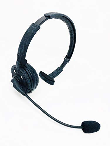 Blue Tiger Pro Combat - Wireless Bluetooth Headphones  Professional Truckers Noise Cancelling Headset with Microphone  Office Headset - Dual Device Connection with no Wires - 20 Hour Talk Time, Camo