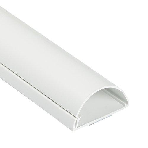 D-Line 1M5025W TV halbrunder Kabelkanal   Kabelabdeckung   50x25 mm, 1 m Länge - Weiß