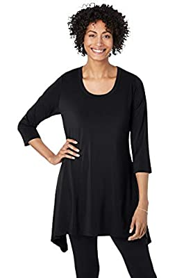 PLUS SIZING: Size 1X will fit Plus sizes 22 to 24 The longer sides on this scoop neck tunic create a flattering and feminine drape. Made from a soft and smooth stretch knit, the relaxed fit is so comfortable you'll want to live in it all day long. A ...