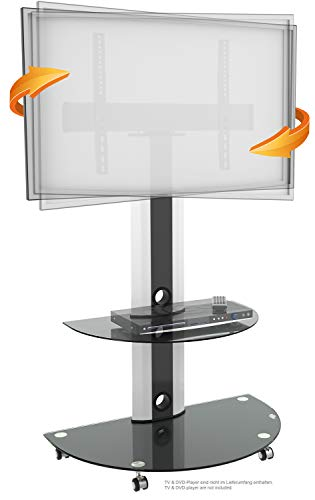 RICOO Supporto TV da Pavimento Ruote Piede FS0502 Staffa orientabile girabile con Ruolo Smart 4K...