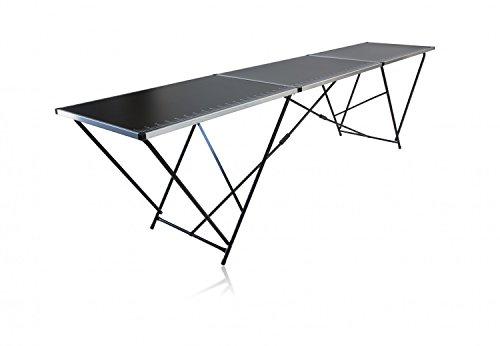 Tapeziertisch 300 x 60 cm, 3 teiliger Klapptisch, Gewicht 10,6 kg, Stahlrohrgestell, Multifunktionstisch fürs Tapezieren, Arbeiten, Camping u.v.m.