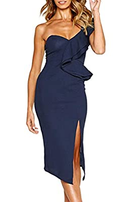 Material: Polyester + Spandex. Soft touching, stretchy and breathable. Design: One Shoulder, Ruffle Design, Knee Length, Open Back, Split Style, Midi Bodycon Dress. Makes you elegant and shining when you wearing it. Occasions: Great for Christmas Par...