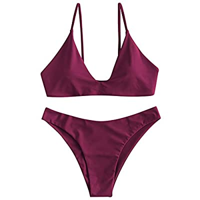 Material: Nylon, Spandex Our Size: S--US 4, M--US 6, L--US 8 Adjustable Spaghetti Straps, Padded Bra, Back Tie Closure This bikini set features a bralette-shaped triangle top with thin straps and the matching bottoms has a Brazilian-cut back that off...