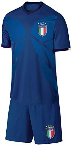 Blackshirt Company Italien Kinder Trikot Set Fußball WM EM Fan Trikot Zweiteiler Blau Größe 128
