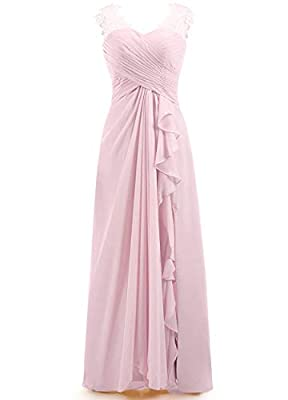 ✡This chiffon A line dress features sweetheart neckline, illusion tank straps with lace appliques, pleated bodice, side slit with ruffle details, a figure-flattering natural waistline and a full, soft skirt complete the look. You will receive many co...
