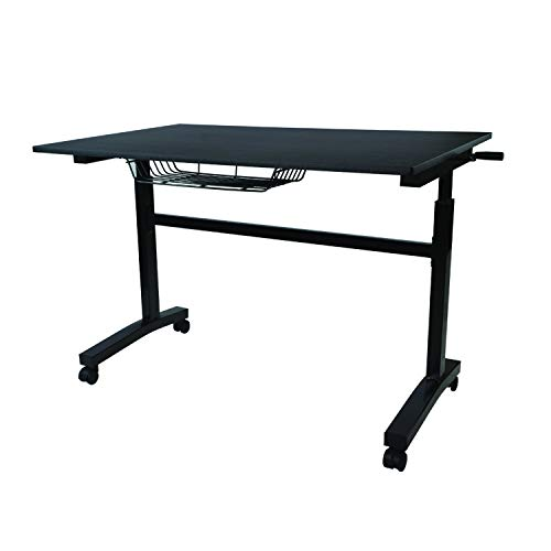 Atlantic Crank Adjustable Height Desk - Sit or Stand at This Large Workspace, Heavy Gauge Steel Frame in Black