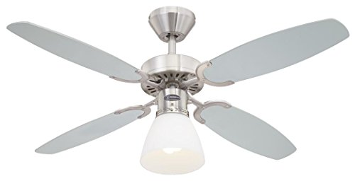 78274 Ventilatore da soffitto in acciaio spazzolato per interni Capitol 105 cm, kit di luce con...
