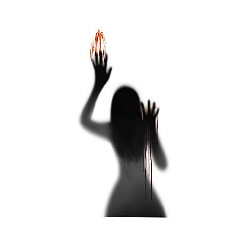 BLOUR 1PCS Halloween Blut Handabdruck Türaufkleber Horror Badezimmer Schwarz Schatten PVC Glasaufkleber Wandverzierung Dekorative Abziehbilder Dekor