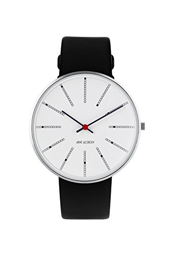 Arne Jacobsen unisex al quarzo con display analogico e cinturino in pelle nera 53102