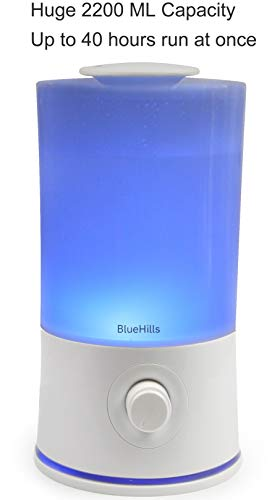 BlueHills Premium 2000 ML XL Large Essential Oil Diffuser Aromatherapy Humidifier for Large Room Home 40 Hour Run Huge Coverage Area 2 Liter Extra Large Capacity Huge Diffuser High Mist White E001
