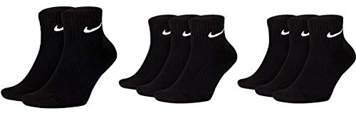 Nike - Calze corte da uomo e donna, 8 paia di calzini alla caviglia, confezione risparmio da 8 paia 34-38 38-42 42-46 46-50 nero / nero / nero. 38-42