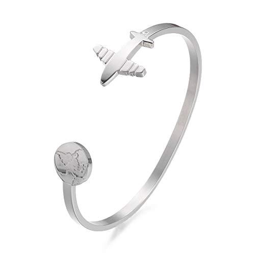 Sadingo Bracelet pour femme en acier inoxydable avec globe terrestre -...