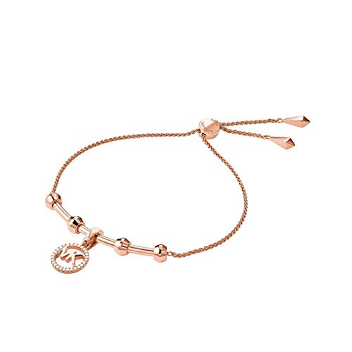 Michael Kors Precious Metal-Plated Sterling Silver Starter Slider Bracelet with Logo Charm Rose Gold One Size