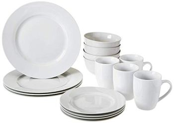Amazon Basics AmazonBasics 16-Piece Dinnerware Set, Service for 4, AB-grade porcelain, White