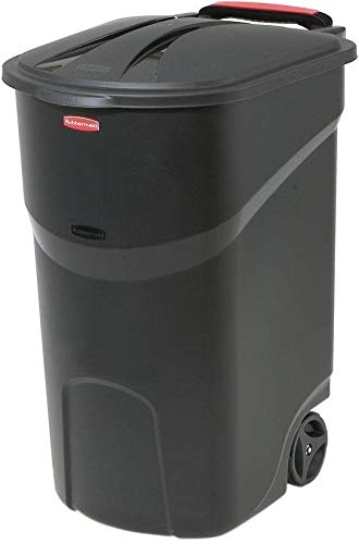 Taltintoo20 Black Wheeled Trash Can with...