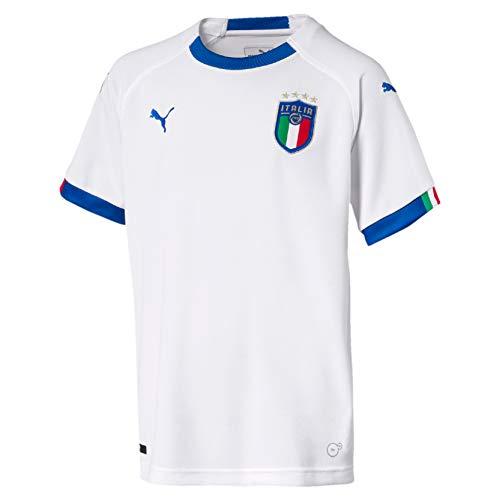 PUMA FIGC Italia Away Replica SS, Maglietta Unisex-Bambini, Bianco/Blu Power, S