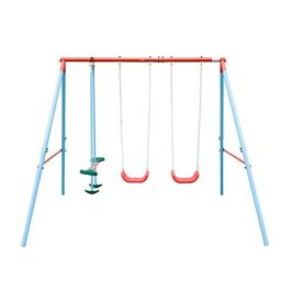 HaoKang Kid's Outdoor Swing Set with Four Stations Swing for Children Play in The Garden Patio Outdoor