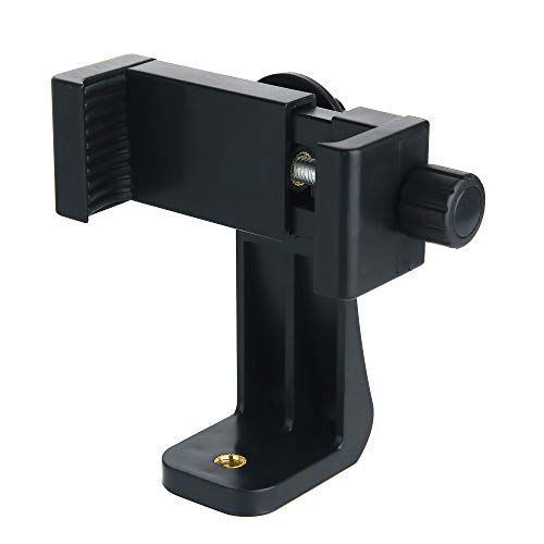 Ruittos Phone Tripod Adapter, Smartphone Holder Clip Mount Compatible with iPhone/Samsung and All Cell Phones, Rotates Vertical Horizontal Adjustable Clamp Selfie Stick Monopod (T9)