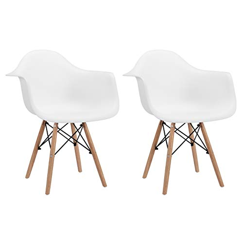 CangLong Natural Wood Legs Mid Century Modern DSW Molded Shell Lounge Plastic Arm Chair for Living, Bedroom, Kitchen, Dining, Waiting Room, Set of 2, White