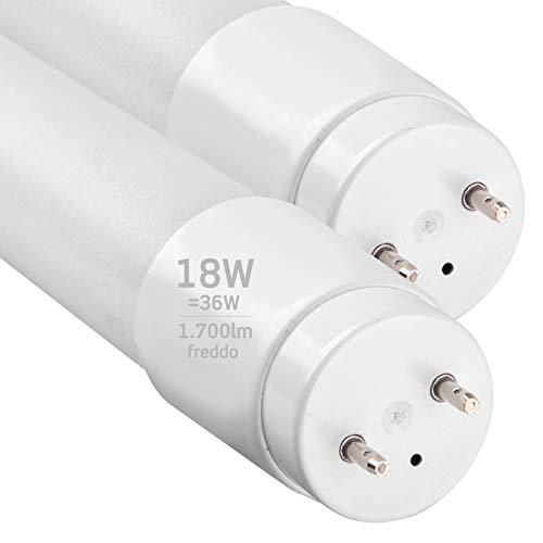 2x Tubi LED 120cm G13 T8 18W Professionale Garanzia 5 Anni 1700 lumen - Luce Bianco Freddo 6400K - Fascio Luminoso 160 - Sostituzione Neon