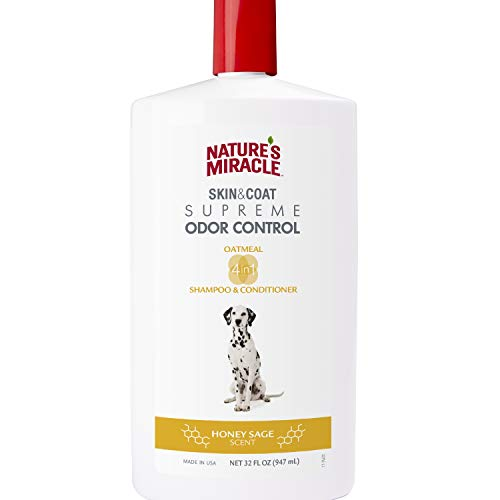Natures Miracle Natural Oatmeal Shampoo And Conditioner For Dogs, Honey Sage Scent 32 Ounces