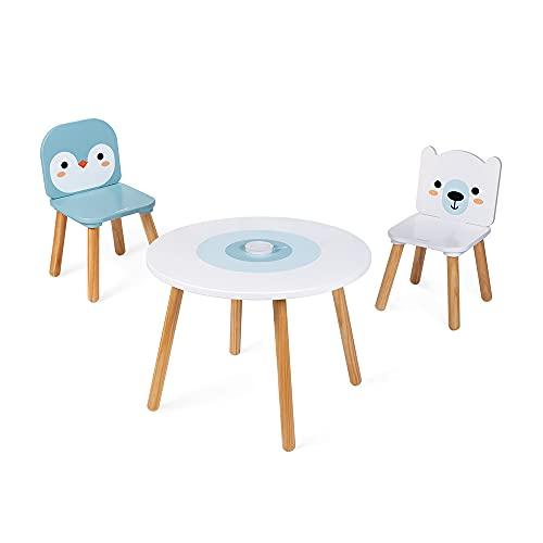 Janod, Tavolo e 2 Sedie Banchisa, in Legno, Tavolino Rotondo per Bambini con Portapenne Rimuovibile, 1 Sedia Orso Bianco e 1 Sedia Pinguino, ottimo per Bambini da 3 a 6 Anni, J09650